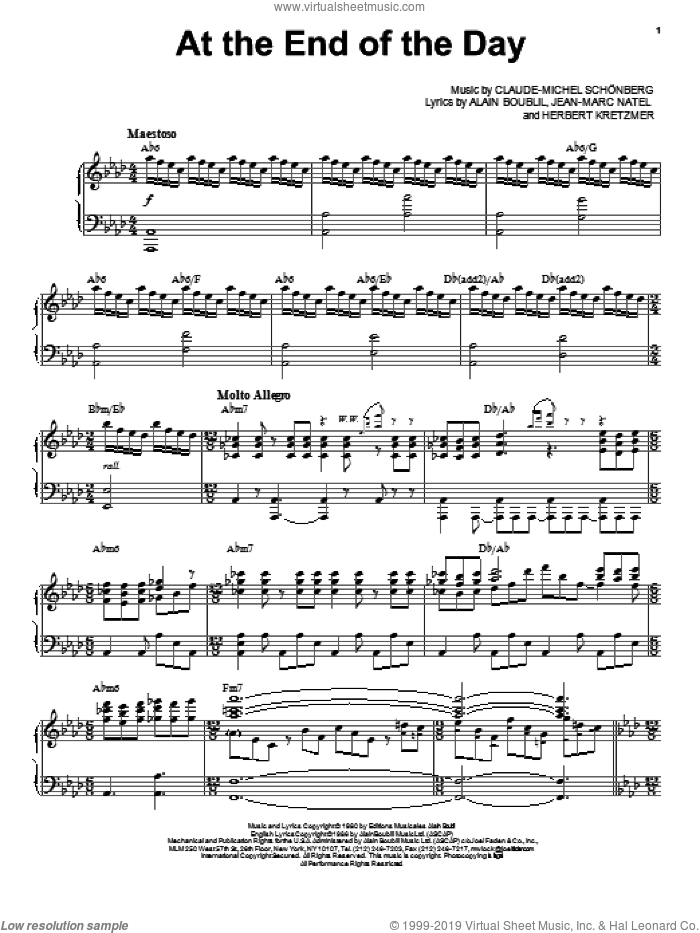 at the end of the day sheet music pdf