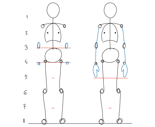 body proportions drawing cartoon guide