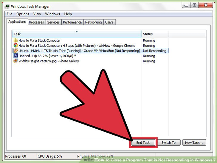 application is not responding in windows 7