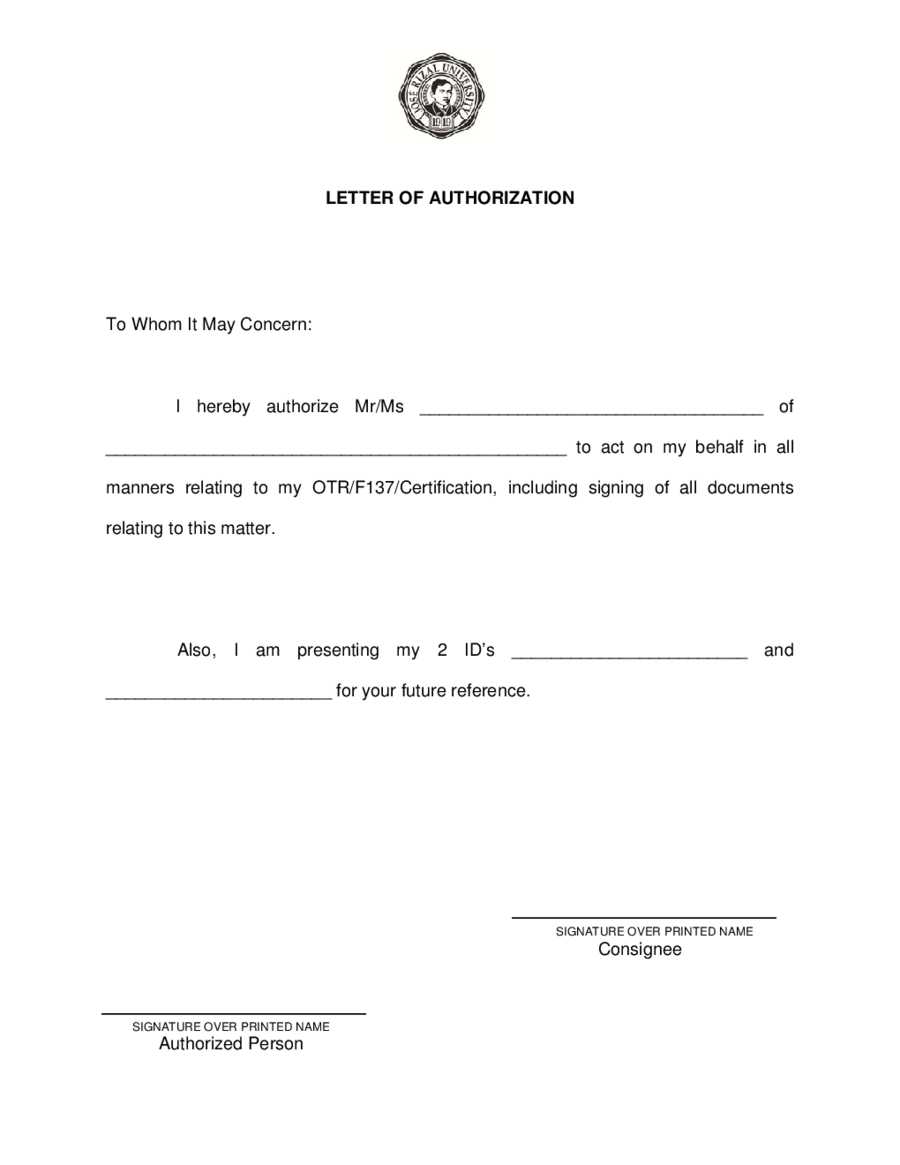 authorization letter format for vehicle pdf