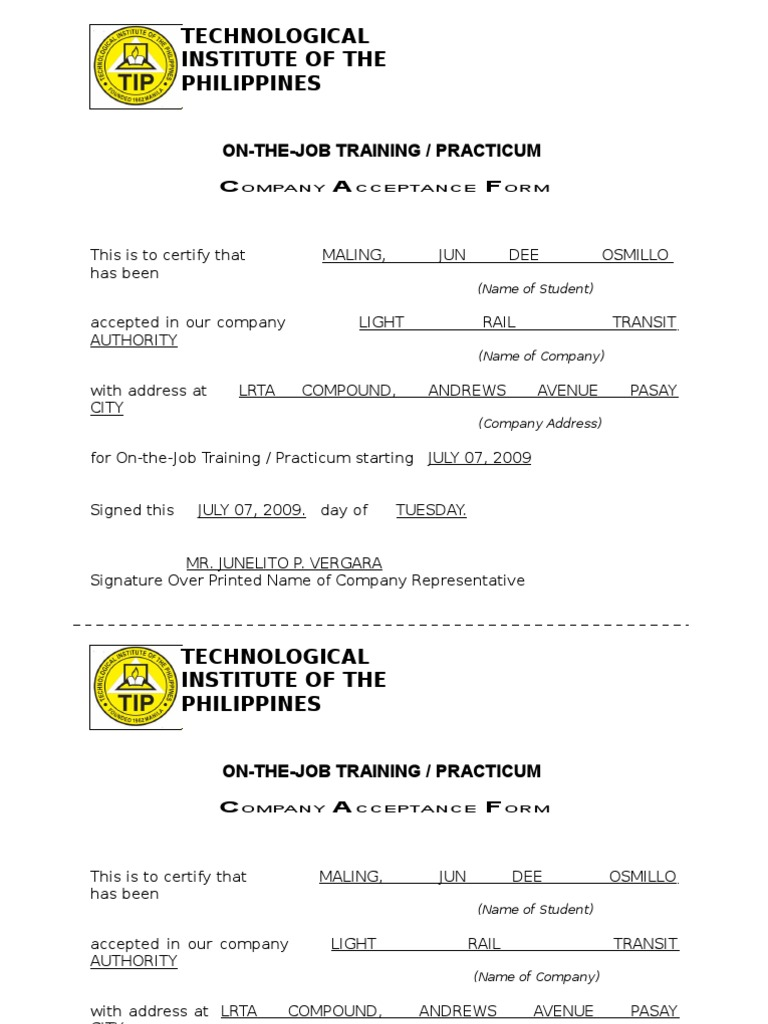 application letter for ojt for accounting