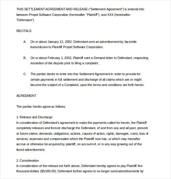 agreement of settlement and release pdf