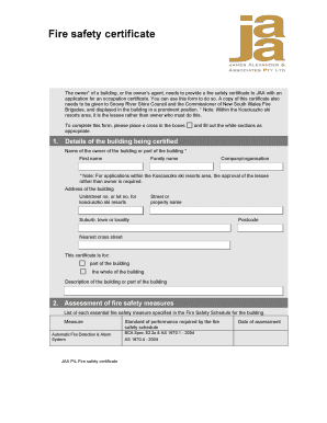 application form for fire safety inspection certificate