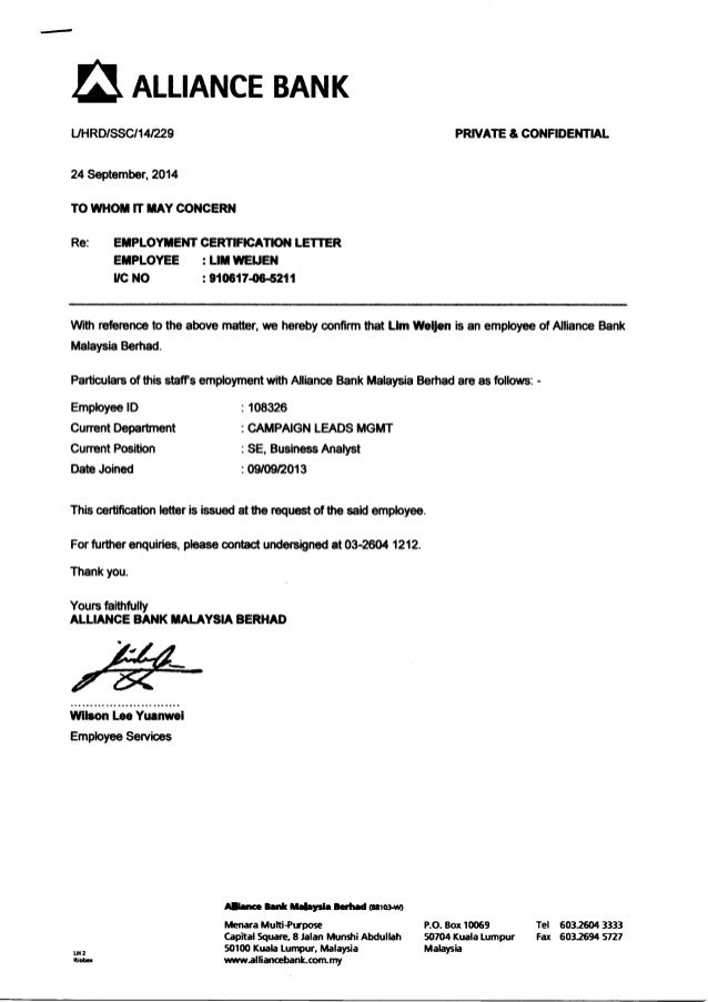certificate of employment for us visa application
