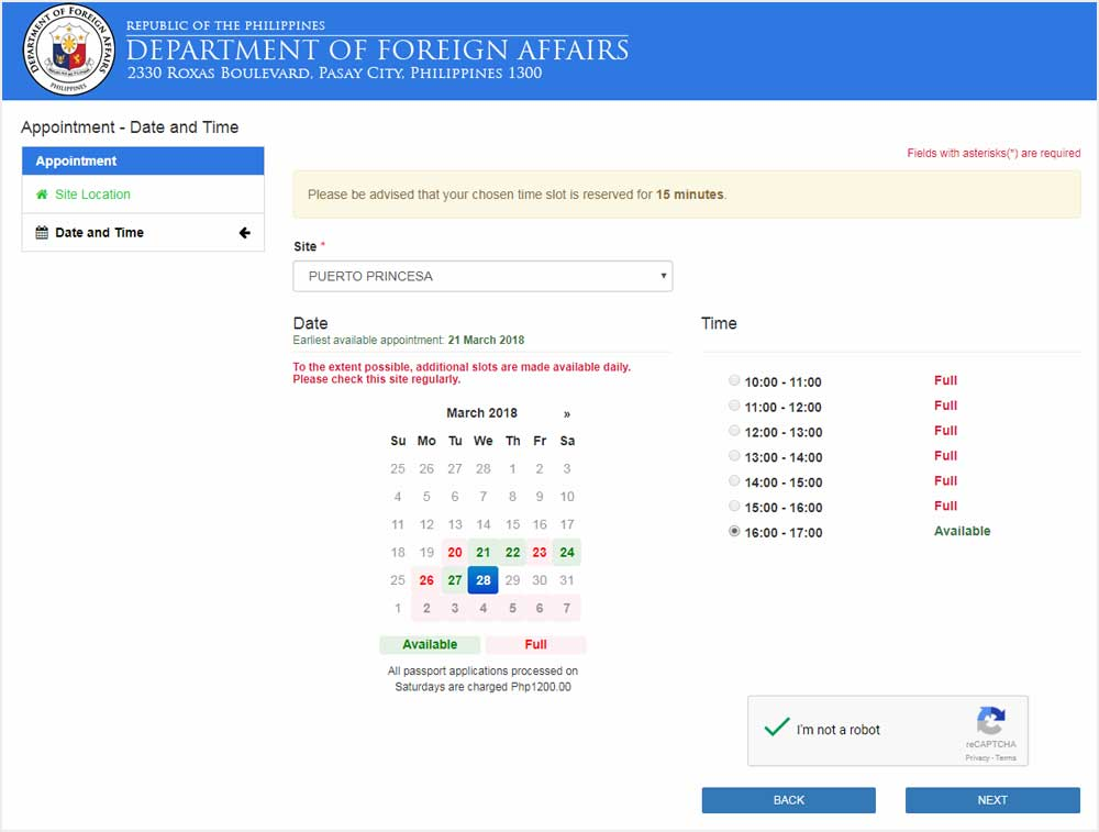 check online the application code of dfa
