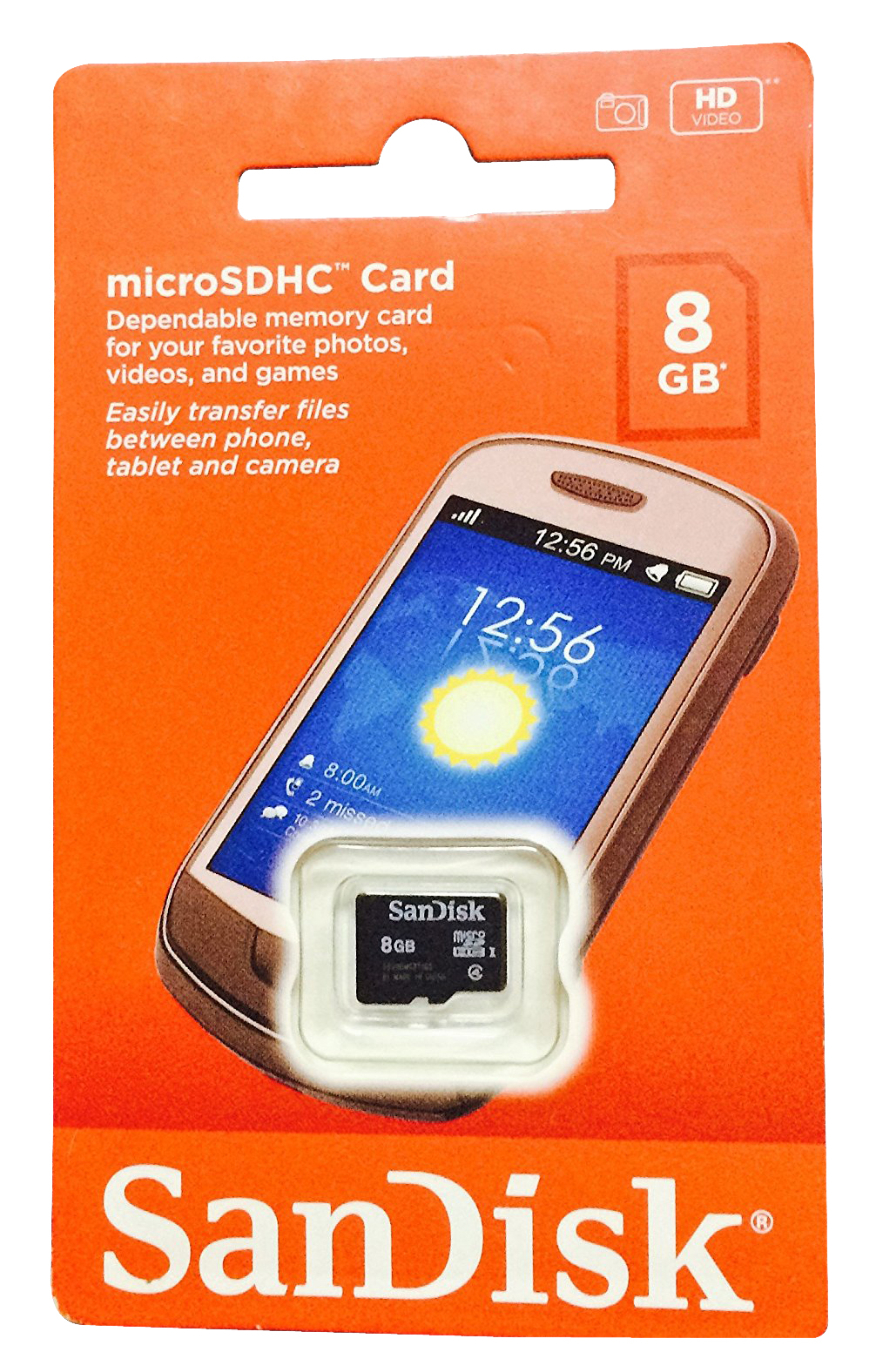 can sandisk micro.sd card 8gb can hold application
